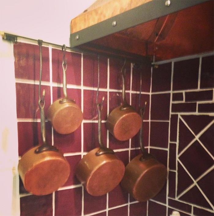 フランスのアンティーク銅鍋のセット